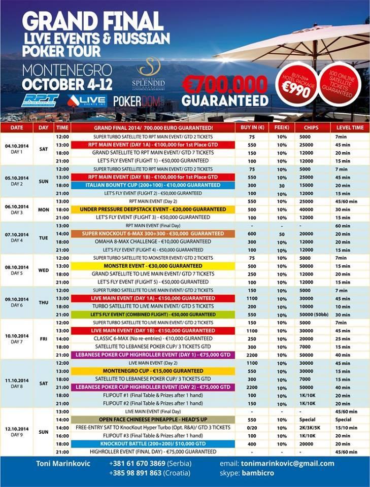 7 motivi 7 per partecipare al GRAND FINAL, Festival LEI di Poker in Montenegro