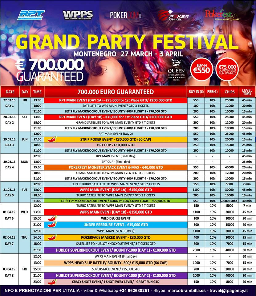 Rakeback Live fino al 15% per tutti i tornei che giocherai alle WPPS – World Poker&Party Series – a Budva dal 27 Marzo